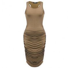 Women Sexy Sleevless Tank Draped Bodycon Stretch Tank Dress