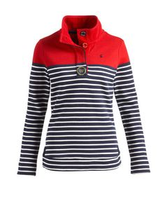WORKS! Bought this sweatshirt from Joules a couple of months ago and I wear it constantly. Really comfy in cut and fabric, no sag at the front and the block/stripe design works brilliantly as camouflage. No-one takes a blind bit of notice of my straightness!    http://www.joules.com/Women/Sweatshirts/Cowdray/Womens-Sweat/Red?id=P_COWDRAY RED