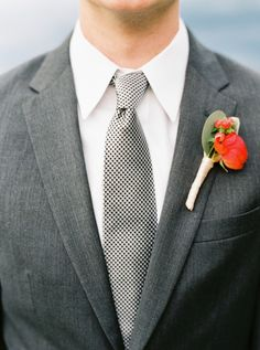 grey suit with a pop of red - photo by Jessica Scott Photography
