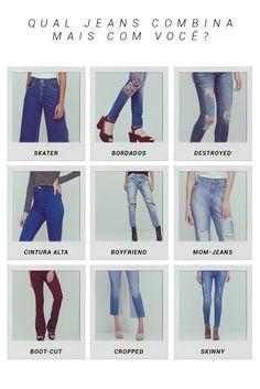 Todo mundo sabe que calças jeans são as queridinhas tanto para um look simples de dia a dia, para um look noite complementado com acessórios mais chamativos. Elas são os curingas para qualquer ocasião! Você conhece todos os modelos de calça? Sabe qual o seu preferido? Esse moodboard é para você se inspirar e conhecer mais sobre cada modelinho e decidir qual o que mais combina com você.