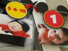 This is such a cute idea!! hand made mickey mouse photo banner, love this idea for a first birthday, 13 photos< from birth to he is a year old. Or ditch Micky and do 1 photo per year up to the number of that bday