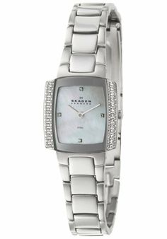 Skagen Women's 688SSX Steel Collection Square Watch Skagen. $69.00. Swarovski indicators and Swiss movement.. Silver metal plating and Stainless Steel Link band with  Deployment clasp. water resistant at 100 feet. White Mother-of-Pearl dial with Hardened Mineral crystal. 23mm diameter steel case and 7.25mm case thickness.. Save 54% Off!