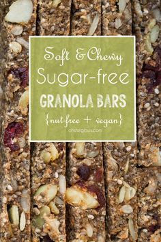 Soft & Chewy Sugar-Free Baked Granola Bars (GF) (dates, chia seeds, sunflower seeds, pumpkin seeds, dried cranberries)