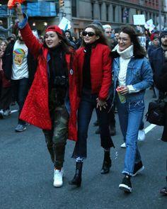 """bel-hadid: """"""""Alana O'Herlihy, Gigi and Bella Hadid at the No Ban No Wall March in New York City """" """""""