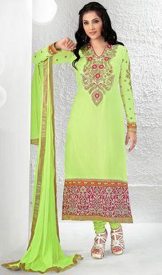 Picture of lime green long length Designer Salwar Kameez (semi stitched) Indian Salwar Kameez, Churidar Suits, Salwar Kameez Online, Latest Salwar Suit Designs, Indian Fashion, Womens Fashion, Pakistani Outfits, Lehenga, Saree