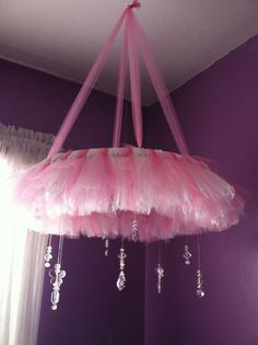 tulle chandelier/mobile...this turned out really well for miss e's big girl room!