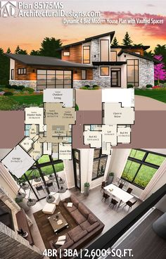 Architectural Designs House Plan 85175MS has 4 beds | 3 baths | 2,600+ square feet of heated living space. Ready when you are. Where do YOU want to build? #85175ms #adhouseplans #architecturaldesigns #houseplan #architecture #newhome #newconstruction #newhouse #homedesign #dreamhouse #homeplan #architecture #architect #houses #modern #contemporary