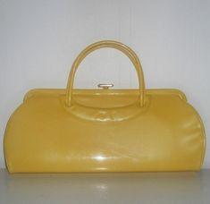 Vintage 1950s Yellow Patent Leather Handbag