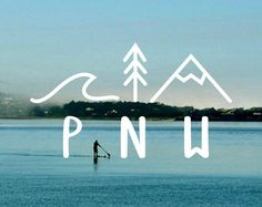 PNW [Waves|Tree|Mountain] vinyl decal for laptops, car windows, water bottles, and just about anywhere!
