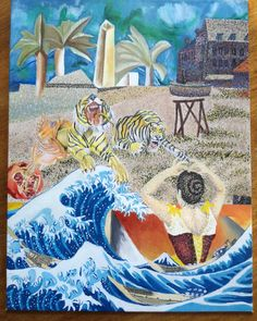 One of my university projects where I had to create a collage with different painting styles and paint it😊  #artstyles #painting #paint #collage #famouspaintings #universityproject #pointlism #cubism #surrealism #art #tigers #bigwave #paintedwoman Fashion Painting, Fashion Art, Painting Styles, Surrealism Art, Big Waves, Cubism, Digital Illustration, Tigers, University