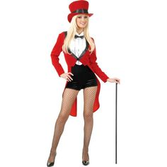 Why are all the commercial female Ring Master costumes so suggestive!? This one is the tamest I could find...I could just swap the booty shorts for pants, or maybe fun leggings. --  Adult Circus Sweetie Ringmaster Costume from Party City