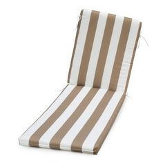 Coral Coast Lakeside Chaise Lounge Cushion - 72 x 22 in. Taupe Thick Stripe - TRENDM063-1-TAUPESTRIPE