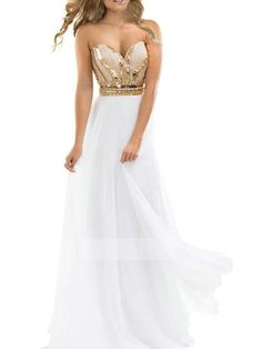 White Sweetheart Sequin A Line Chiffon Beaded Bodice Evening Dress ItemNe0040