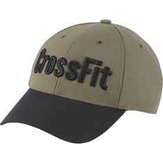 Reebok CrossFit Cap ($28) ❤ liked on Polyvore featuring accessories, hats, hunter green, training, snap back cap, graphic snapback hats, baseball style caps, adjustable snapback hats and snap back hats