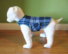 Fleece Dog Coat, Extra Small Green, Blue, Navy, Baby Blue, and Green Plaid with Green Fleece Lining  www.TheThimbleAndHound.com