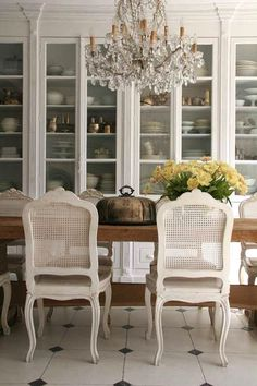 Cane-Back Dining Room Chairs Painted White