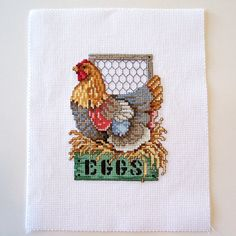 Completed Counted Cross Stitch of Chicken 5x7