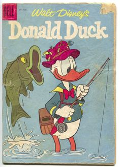 Walt Disney's Donald Duck 54 Dell 1957 FR GD Bass Fly Fishing Cover