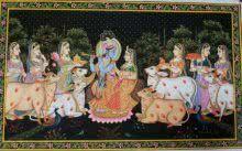 Krishna Leela painting by Rajendra Khanna | ArtZolo.com
