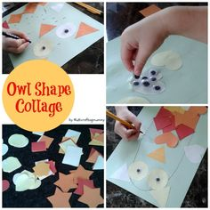 Crafty Kids at Home: Autumn Owl Shape Collage for toddlers, preschoolers and older kids to do alongside each other. Shape recognition, scissor skills, gluing, sticking, googly eyes.