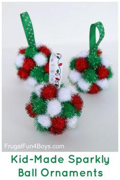 sparkly pom pom ball christmas ornaments for kids to make - Childrens Christmas Tree Decorations