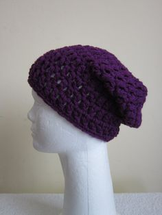 3 Days Only 50% OFF Chunky Beanie Hat/Slouchy Hat- Deep Violet by VansBasicWear on Etsy