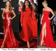 Vestidos de festa vermelho e várias opções de combinações com os sapatos, vale conferir!