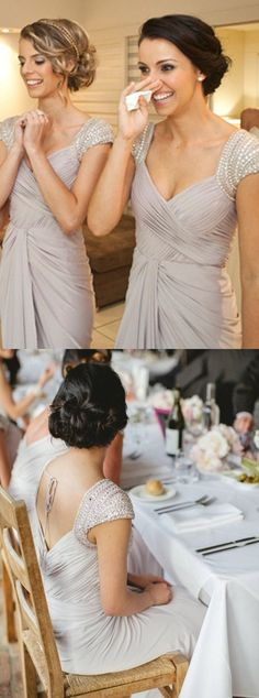 beaded bridesmaid dresses,light grey bridesmaid dresses,pleat bridesmaid dresses,long bridesmaid dresses