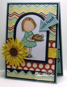 Let's Feast Pure Innocence Turkey Time – MFT Stamps  Paper: White; Blue; Nightshift Blue – MFT Stamps; School Daze DP – My Mind's Eye  Die-namics: Rounded Banner; Sunflower; Triple Scallop Border; Framing Flourishes; Lead The Way – MFT Stamps  Other: Black Ink; Lemon Drop Ribbon; Foam Tape; Copics