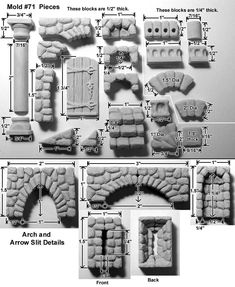 D&D Terrain Hirst Arts precast set from Fieldstone Accessories Mold 71 - Cast in resin Christmas Village Display, Christmas Villages, Christmas Nativity, Christmas Crafts, Miniature Crafts, Miniature Houses, Fantasy Miniatures, Dollhouse Miniatures, Foam Carving