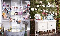 Monte um varal com as fotos mais românticas dos noivos.