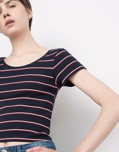 Pull&Bear - woman - t-shirts & tops - basic striped t-shirt - maroon - 05238386-V2016