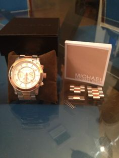 Michael Kors Two Tone Chronograph Watch 8176 Silver Rose Gold Stainless Steel