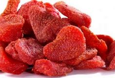 Strawberries dried in the oven. Tastes like candy but are healthy & natural. 3 hrs at 210 degrees.