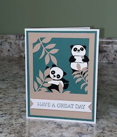 """This Flora & Flutter Paper Pumpkin alternative is designed for the younger crowd. The """"leaf"""" mat was from the kit. The Pandas were stamped and hand cut from the really popular Party Panda stamp set, placed on a Tranquil Tide cardstock background, and used one of several sentiments included in the kit. A2 size card."""
