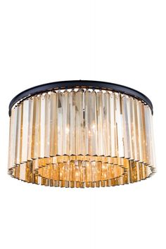 """Sydney Flush Mount D:31.5"""" H:13.5"""" Lt:8 Mocha Brown Finish (Royal Cut Golden Teak. Crystal bars in clear or rich and vibrant hues of gold or silver exploding with prisms layered in circular or rectangular shapes. The Sydney will satisfy your desire to hold the past and embrace the future at the same time.Specifications:   Dimensions 31.5"""" W x 13.5"""" H   Finish Mocha Brown    Crystal Trim  Royal Cut    Crystal Color  Golden Teak (Smoky)    Chain/Wire Included  10""""    Light Bulbs  8    Bulb…"""