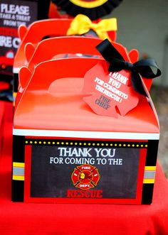 FIREMAN Birthday - FIRE FIGHTER - FIREMAN Thank You Box Labels