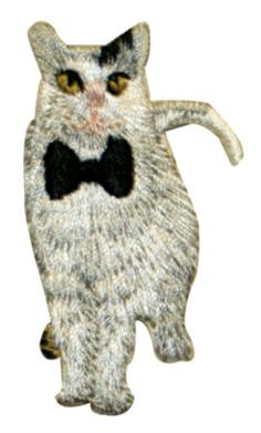 """Amazon.com: [Single Count] Custom and Unique (1 1/4"""" by 2 1/4"""" Inches) Household Pets Fancy House Cat With Bow Tie Iron On Embroidered Applique Patch {White, Gray & Black Colors}"""