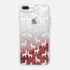 CASETiFY iPhone 7 Plus Glitter case - Cute Alpacas - Llamas on Transparent Case by Andrea Lauren by Andrea Lauren