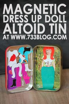 seven thirty three - - - a creative blog: DIY Magnetic Dress Up Doll Altoid Tin  could have variety of job uniforms to put on top of child's photo - pilot, astronaut, superhero, dancer, clown, musician, actor, athlete, racing driver, artist, etc.