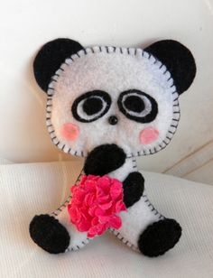 panda toy / felt toy magnets /  panda /Easter /white by Marywool, $13.00