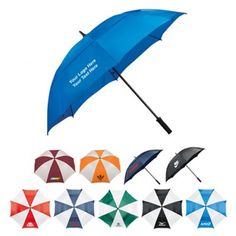 """Custom Printed 62 Inch Arc Vented Golf Course Umbrellas: Imprint Area: 6"""" H x 8"""" W. Product Size: 62 Inch Arc. Packaging: 24. Production Time: 10 days or less. Material: Pongee. #customgolfumbrella #promoproduct #golfproduct"""