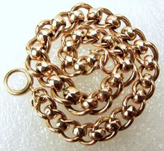 Victorian 9ct Rose Gold Roller Ball Albert Chain Bracelet