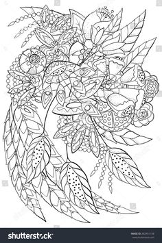 Coloring Book For Adult And Older Children Page With Flowers Decorative Elements