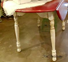 Red cream nook table - annie sloan paint