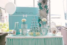 Tiffany themed desserts table. Photo by Awesome Memories Photography. Event Styling by Deux Dames. www.theweddingnotebook.com