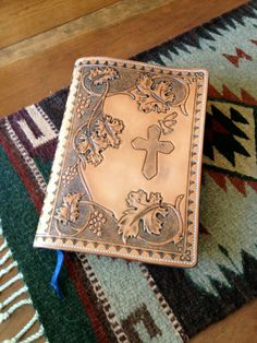 Hand tooled Leather Bible or Devotional Cover by NTexasLeatherwork