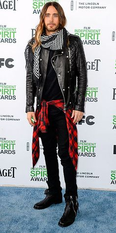 From Floral to Flannel, the Coolest Celebs at the Independent Spirit Awards | JARED LETO | Finally, the reason we're all here: to see what Jared Leto wears on the red carpet. He does not disappoint, delivering the holy grail of layered looks; from the ground up, we've got high-tops, black jeans, plaid flannel, quilted leather jacket, artfully draped scarf and that crowning glory, his ombré mane.
