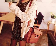 i love this outfit Black tights a cute  dress& a knited sweater with a cute bag!