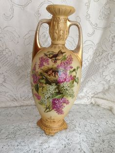 Antique Vase Birds Nest Lilacs Royal Wettina Austria China